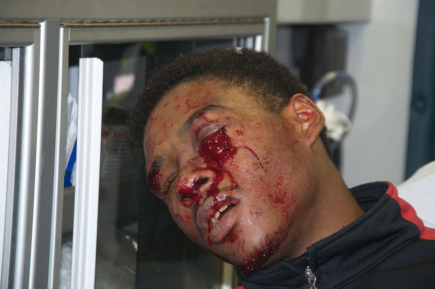 Scene photo taken by Durham Regional Police Service - warning graphic