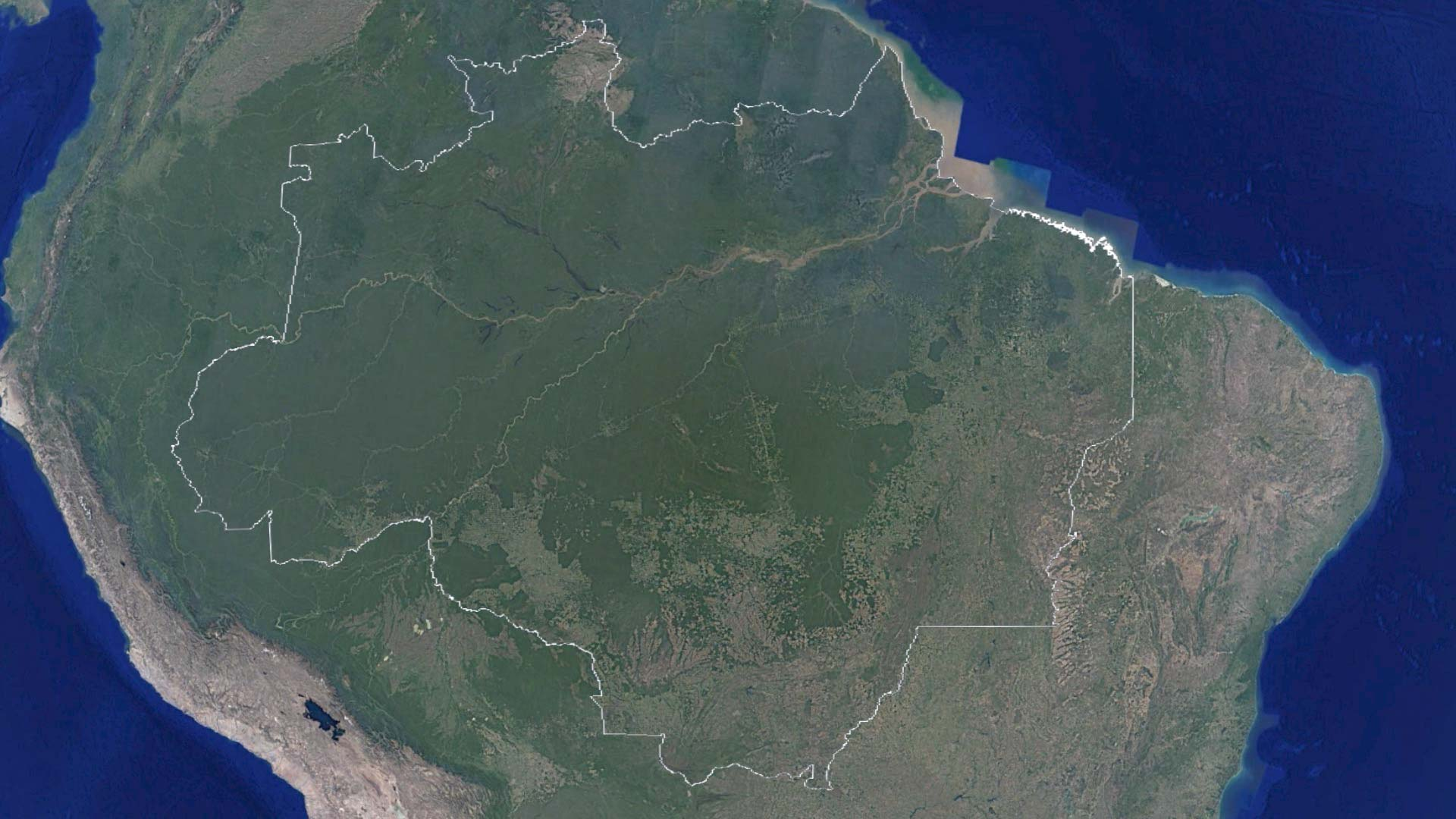 Highway of riches road to ruin inside the amazons deforestation boundary established by government in 1953 map data google image landsat copernicus gumiabroncs Choice Image