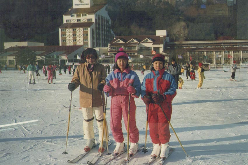 Minjae Kim, Taehoon Kim's sister, with an aunt and cousin at Yongpyong Ski Resort.