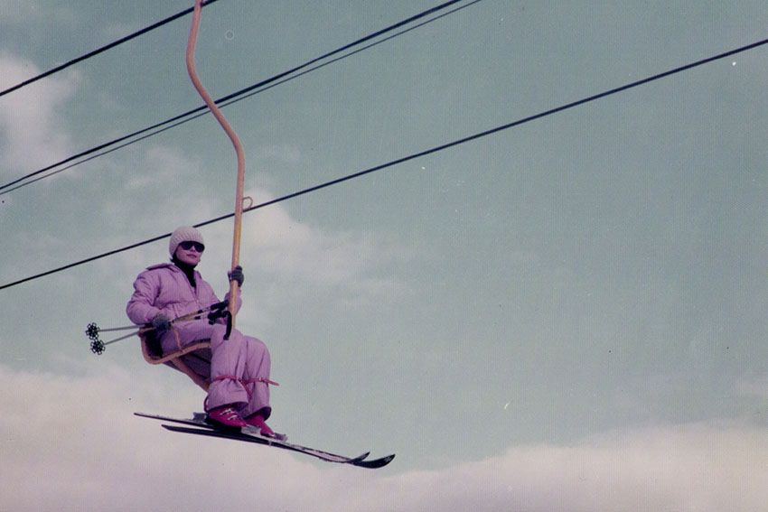 Jiyon Kim, Taehoon Kim's mom, rides a chairlift in 1976 at Yongpyong Ski Resort.