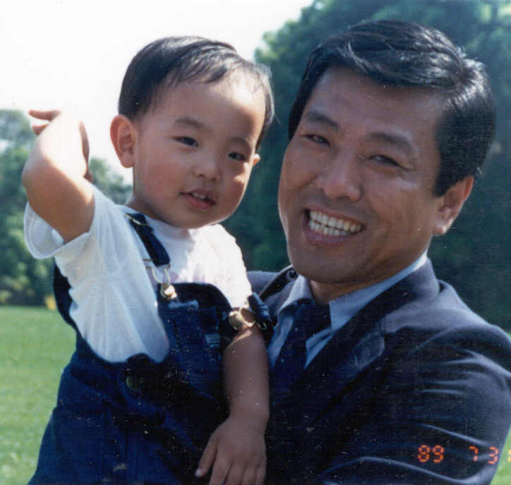Taehoon Kim and his father Kwahn in 1989.