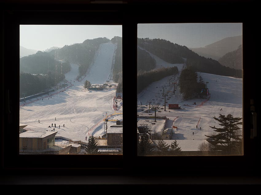 The base of some runs seen from the Greenpia Condo at Yongpyong Ski Resort.
