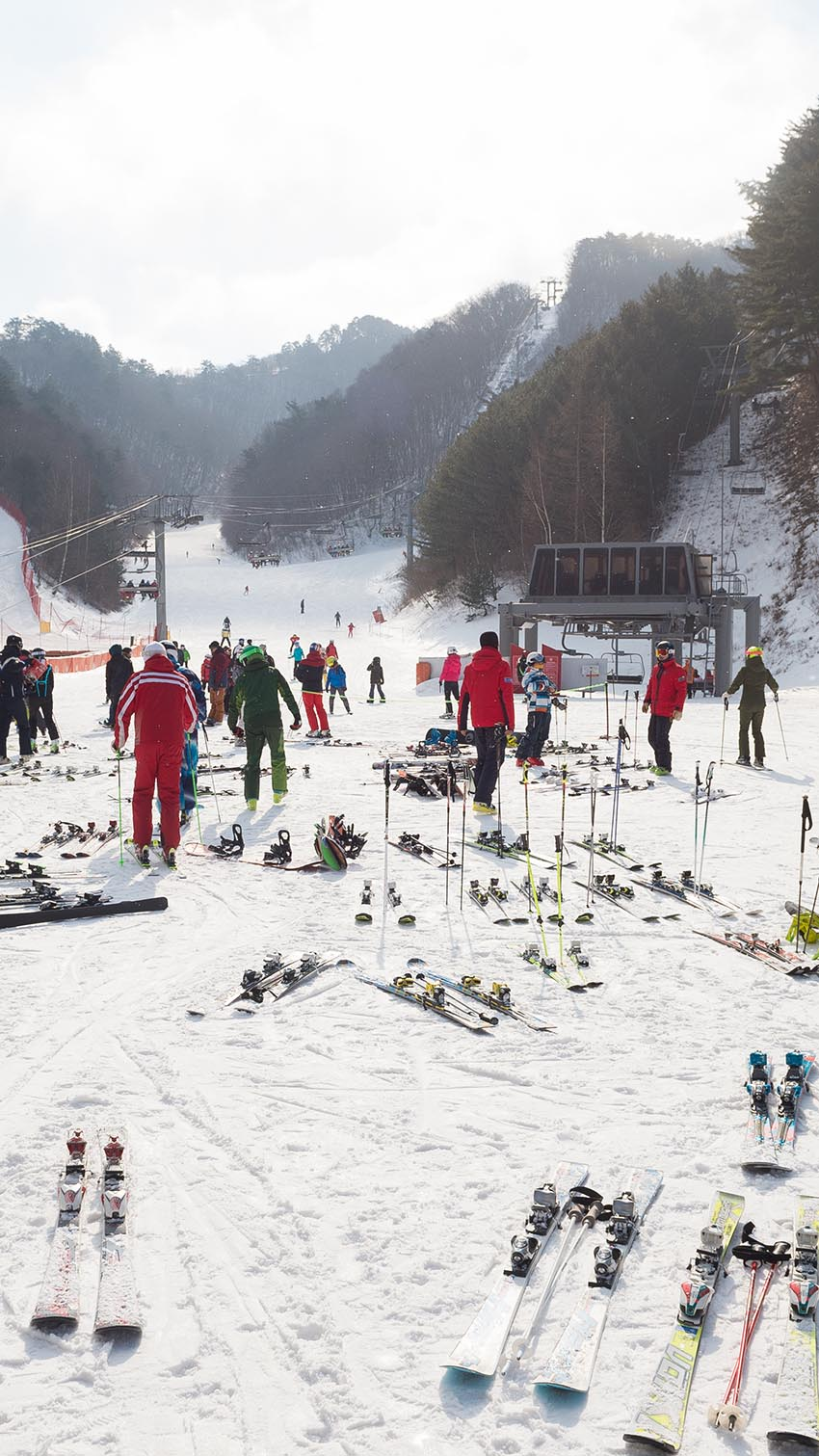 Equipment is left outside while owners take a break at Yongpyong Ski Resort.
