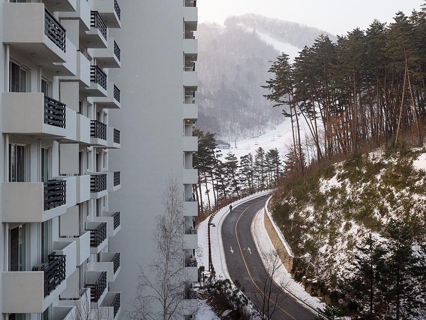 A condo building at Yongpyong Ski Resort.