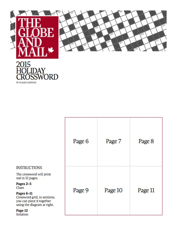The Globe And Mail S Annual Printable And Huge Holiday Crossword