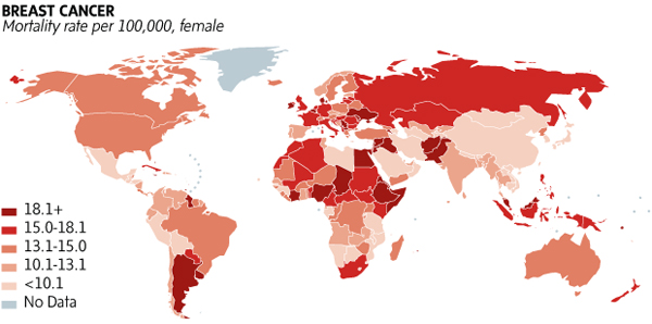 Breast cancer in the world map