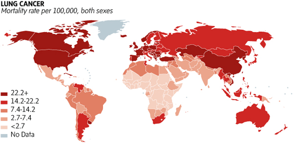 Us cancer cluster map