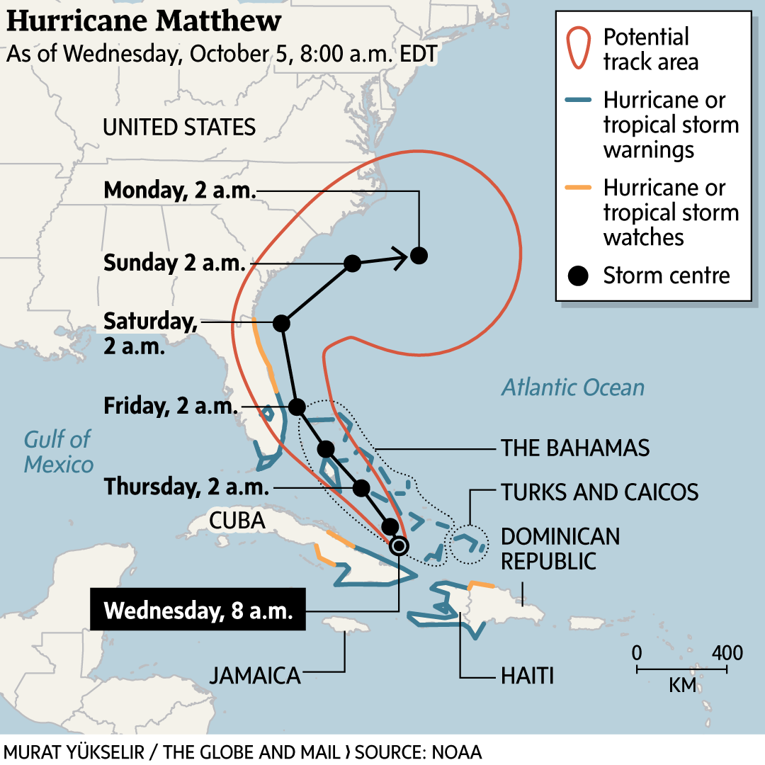 Map Of Florida And Bahamas.Florida Braces For Hurricane Matthew After Storm Slams Southern