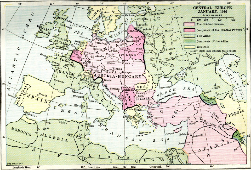 Taking You Back To Relive The Start Of The First World War - Europe map world war 1914