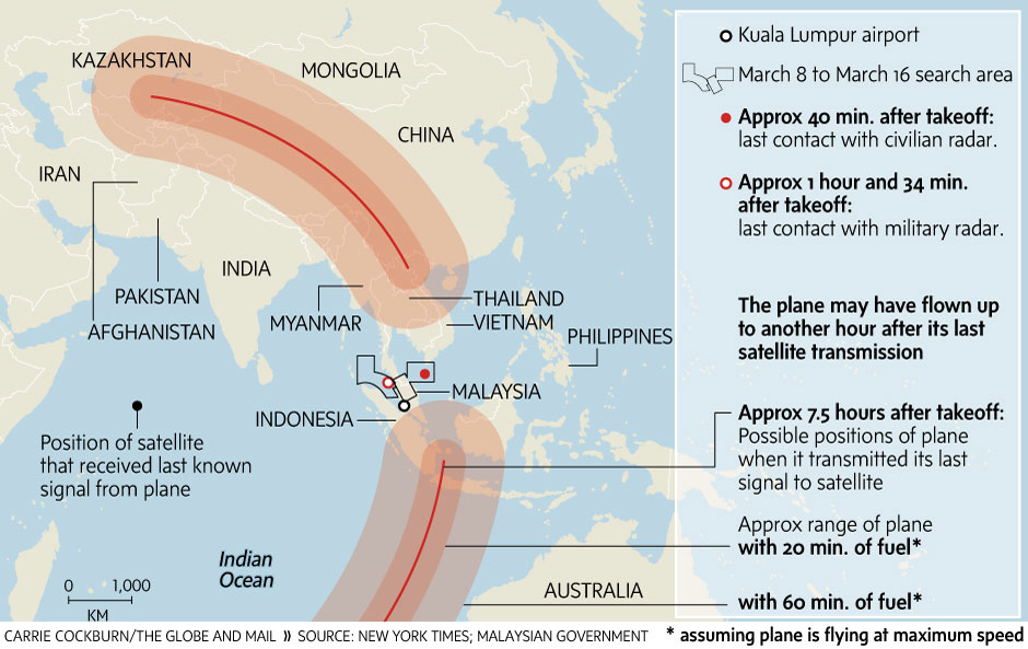 Pinpointing the maximum range for Malaysia Airlines flight 370