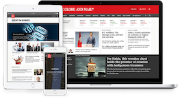 Globe and Mail website displayed on various devices