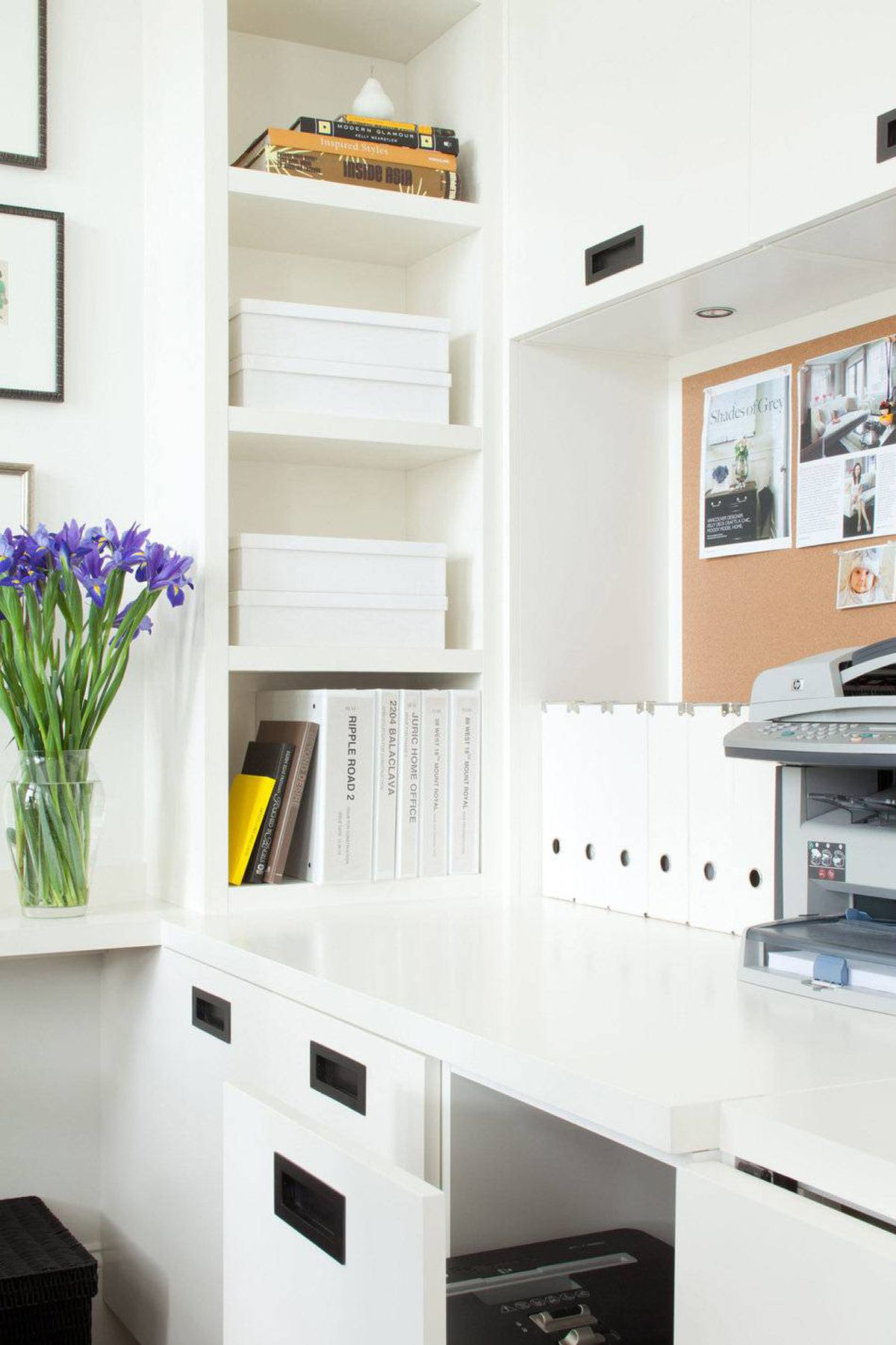 The built-in millwork is available for file storage.