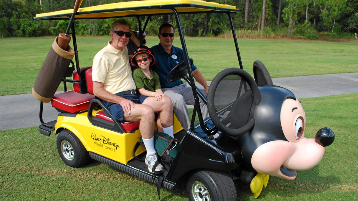 PGA professional Mike Gertzberg drives Connor and his Grandpa to the Disney Palm Golf Course for a joint lesson.