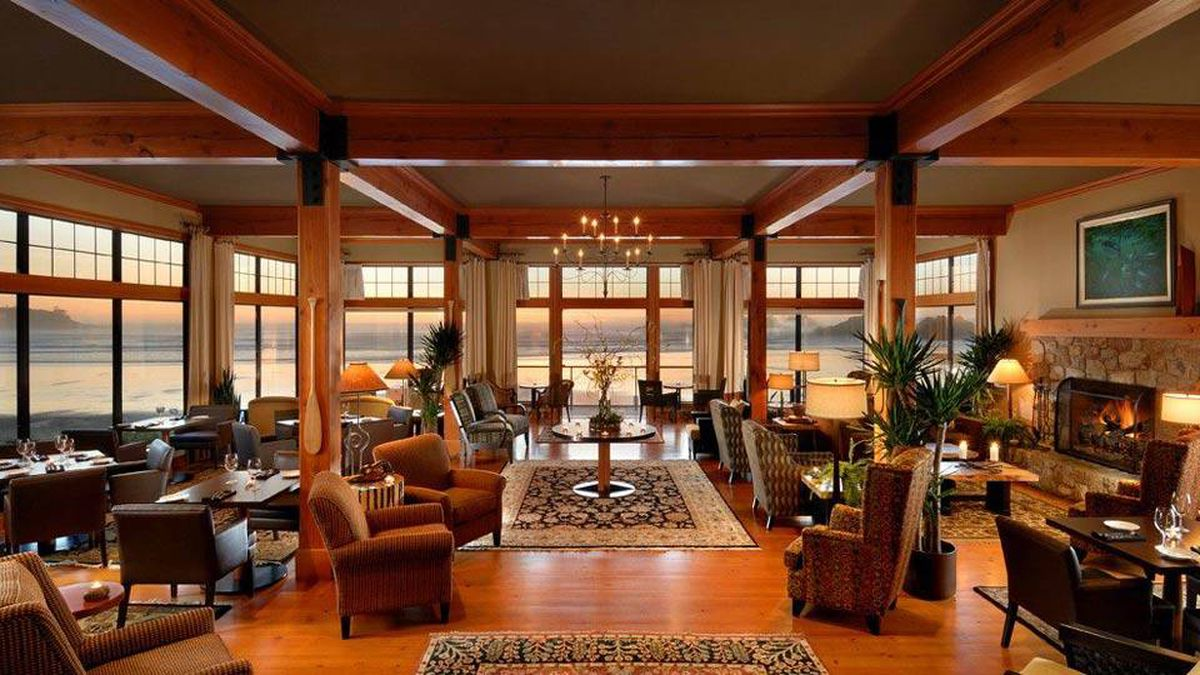 The domestic feel of the resort, right, and its 'great room' are the work of builder Tim Hackett and interior designer Kimberly Williams.