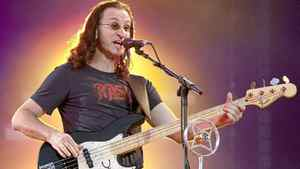 Geddy Lee of Rush performs in front of a crowd of close to 100,000 fans on July 15, 2010 as part of the Quebec Summer Festival in Quebec City.