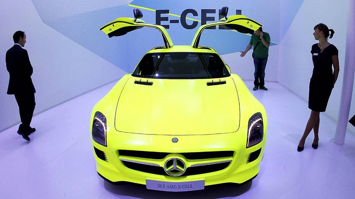 Mercedes-Benz SLS AMG E-Cell car is seen at the press day of the 64th Frankfurt Auto Show in Frankfurt, Germany, Tuesday, Sept.13,2011.