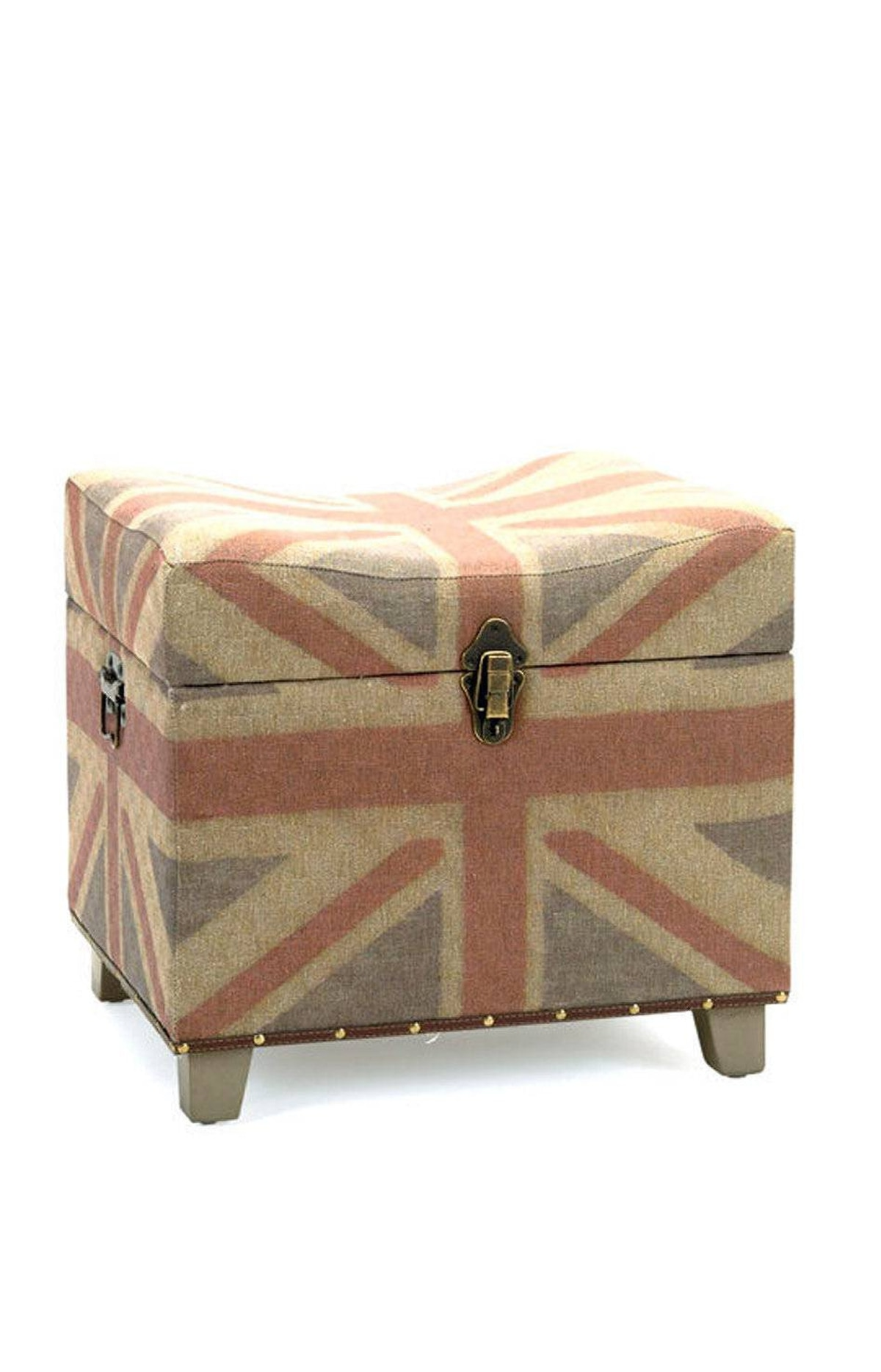 FADED EMPIRE While British design and motifs have been in the spotlight for some years now, the look for 2012 is more East End shabby-chic than super-colourful Brit-pop. Take this storage ottoman by Bacon Basketware: The Union Jack motif is all over; it has just been roughed up a little.