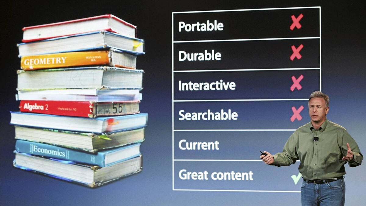 Marketing chief Phil Schiller introduces Apple's digital textbook service called iBooks 2.