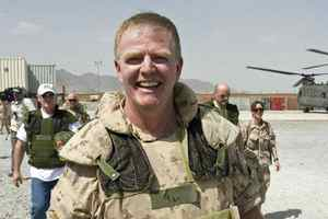 General Rick Hillier, then Canada's chief of defence staff, arrives at the Provincial Reconstruction Team base in Kandahar, Afghanistan, on Wednesday, May 2, 2007.