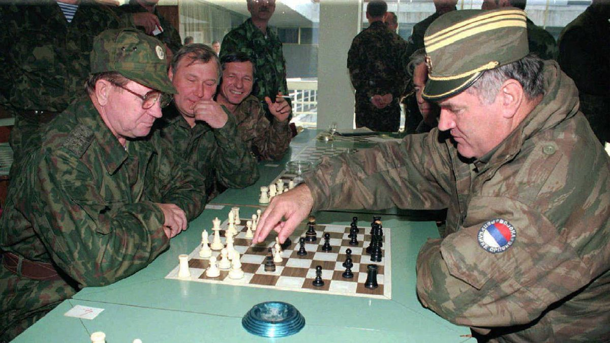 Bosnian Serb Army Commander General Ratko Mladic, right, plays a game of chess with First Deputy Chief of Staff of the Russian Army Gen. Vladimir Mihailovic Zurbenko in the Bosnian Serb stronghold of Banja Luka on Oct. 2, 1995.