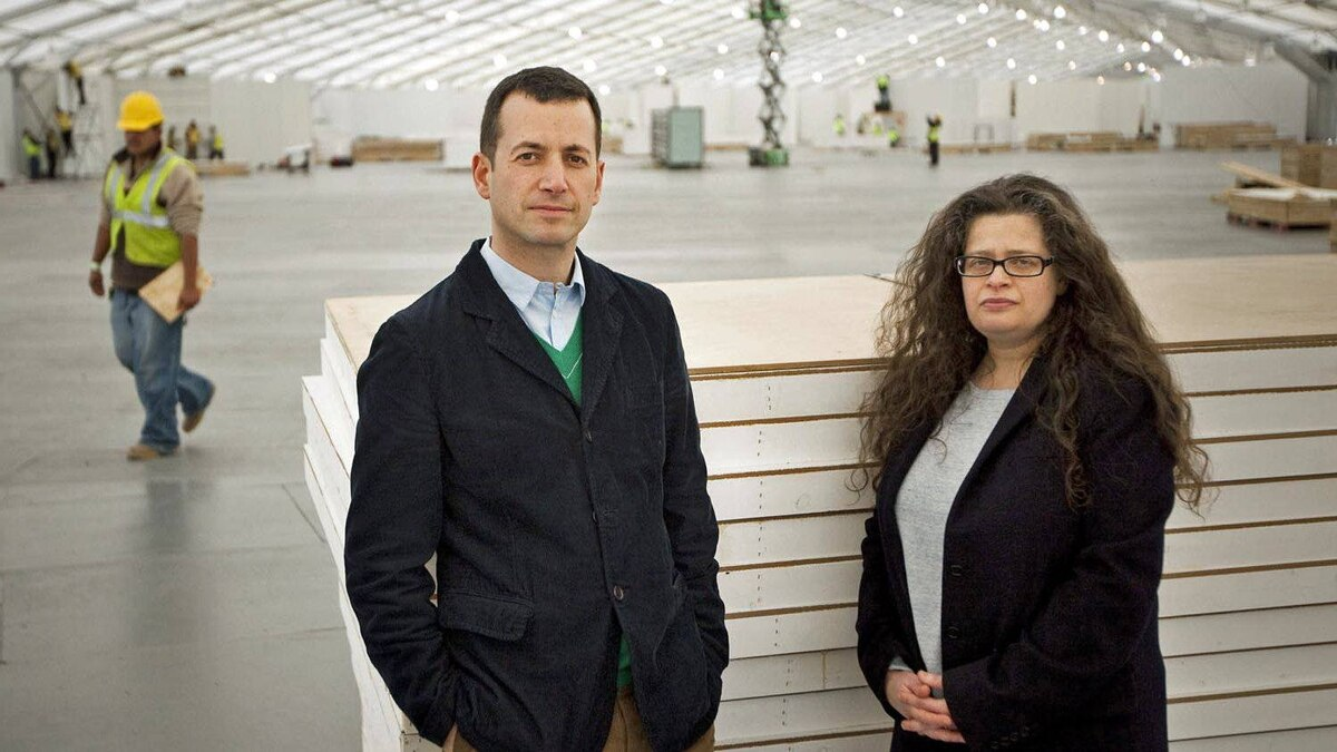 Matthew Slotover, left, and Amanda Sharp, organizers of the Frieze Art Fair, on Randalls Island in New York, April 24, 2012. The London-based Frieze Art Fair, bringing its distinctive brand of arts entertainment to New York, opens this weekend.