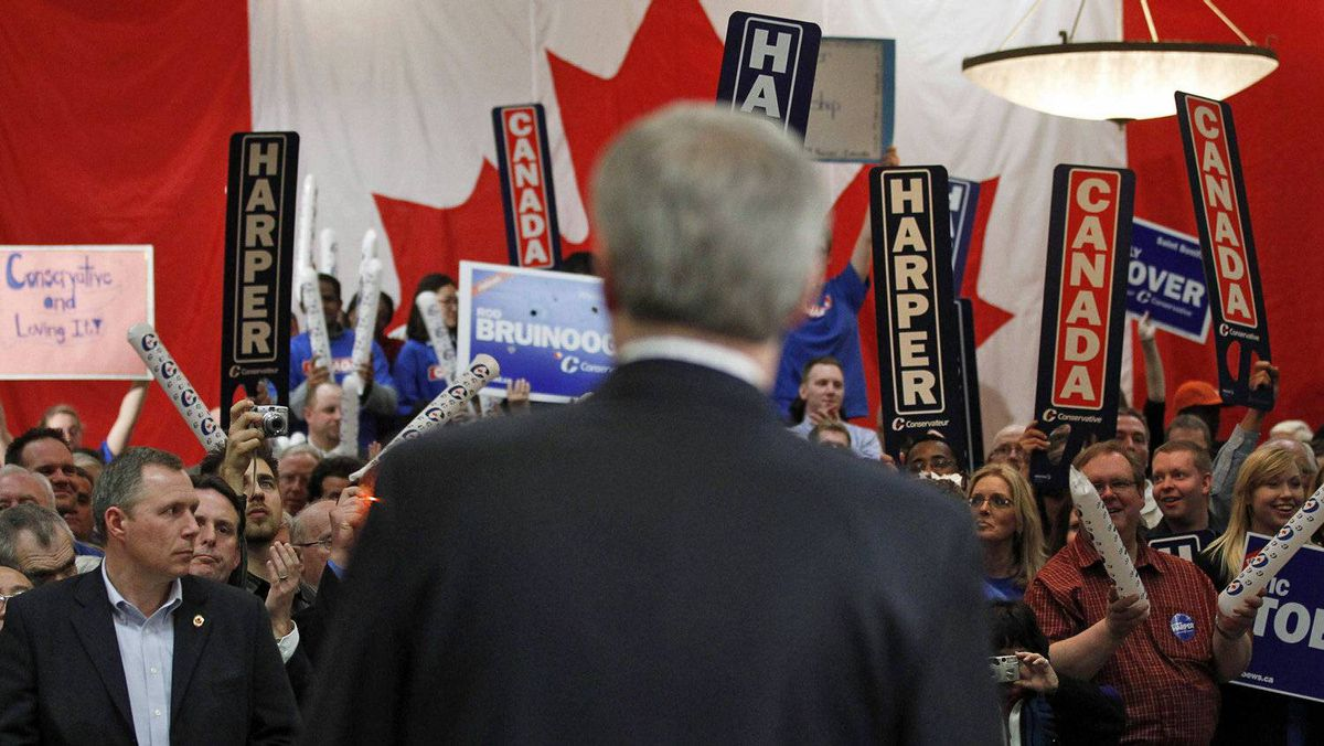 Supporters cheer for Conservative Leader Stephen Harper during a campaign rally in Winnipeg on March 29, 2011.