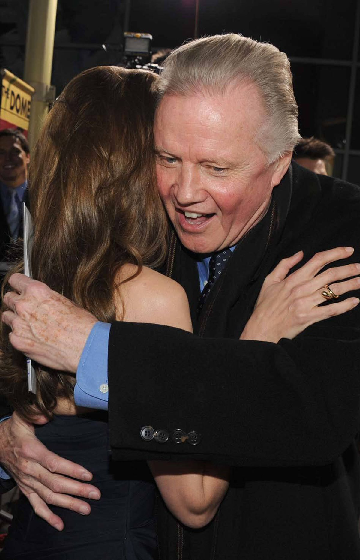 "Jon Voight, clearly past the whole making-out-with-your-brother-at-the-Oscars thing, gives his daughter Angelina Jolie an unrequited hug at the Hollywood premiere of her film ""In the Land of Blood and Honey"" last week. He's happy because he only had to see her film once."