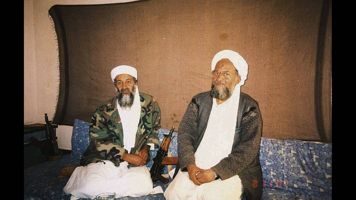 Osama bin Laden (L) sits with his adviser Ayman al-Zawahri, an Egyptian linked to the al Qaeda network, during an interview with Pakistani journalist Hamid Mir (not pictured) in an image supplied by the respected Dawn newspaper, November 10, 2001.
