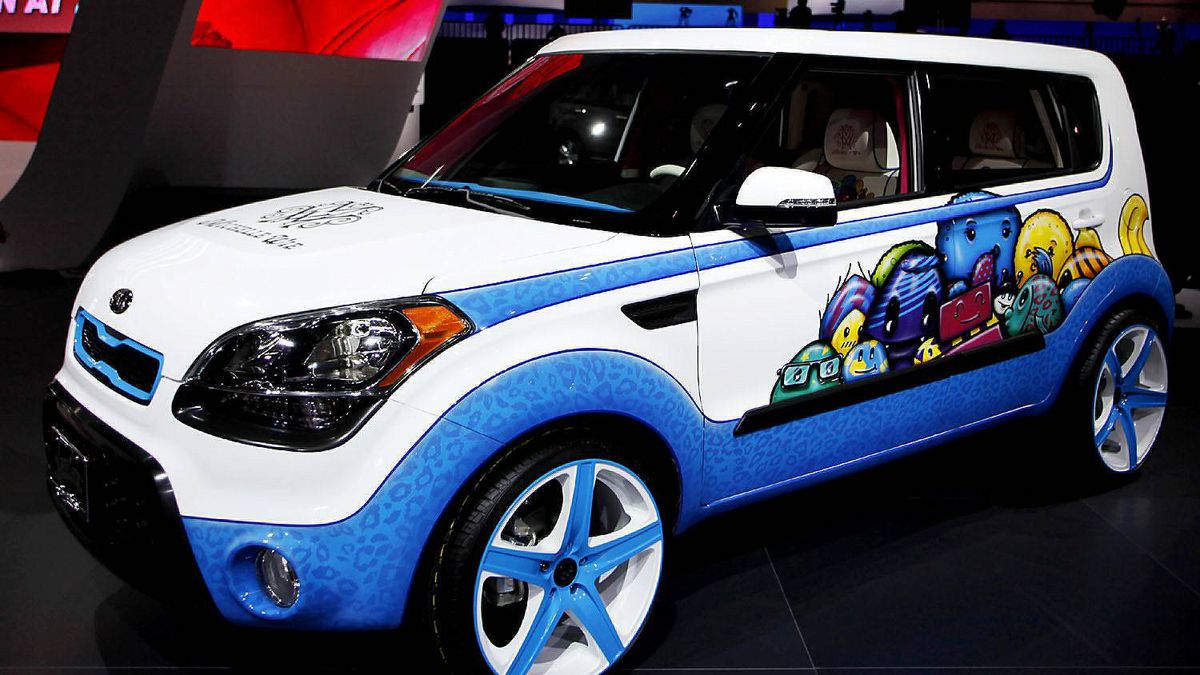 A 2012 Kia Soul, whose design is inspired with ideas from LPGA golfer Michelle Wie, at the LA Auto Show in Los Angeles November 16, 2011.