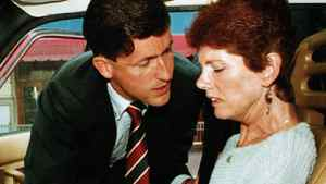Sue Rodriguez is consoled by NDP MP Svend Robinson after leaving a press conference in Victoria, Sept. 30, 1993. The Supreme Court of Canada turned down Ms. Rodriguez's plea for a doctor- assisted suicide.