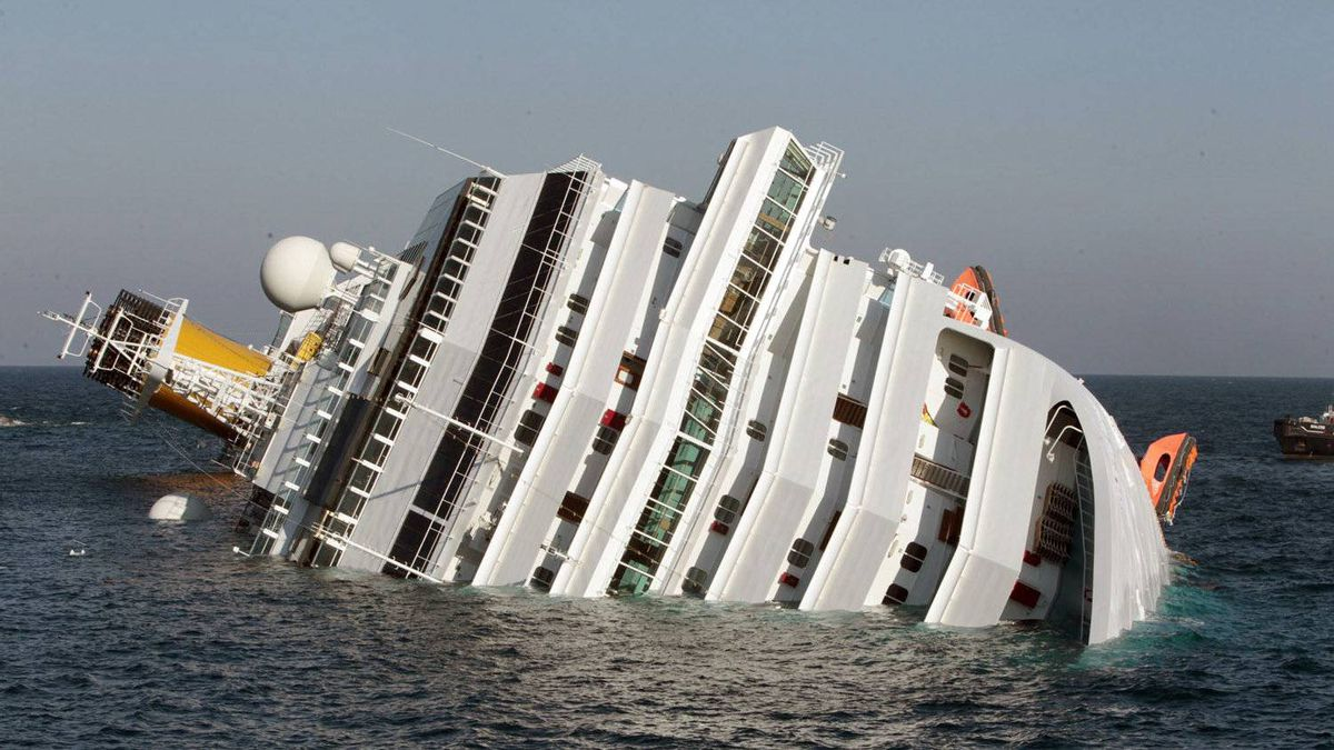 A luxury cruise ship Costa Concordia leans on its side after running aground the tiny Tuscan island of Giglio, Italy, Saturday, Jan. 14, 2012. A luxury cruise ship ran aground off the coast of Tuscany, sending water pouring in through a 160-foot (50-meter) gash in the hull and forcing the evacuation of some 4,200 people from the listing vessel early Saturday, the Italian coast guard said.