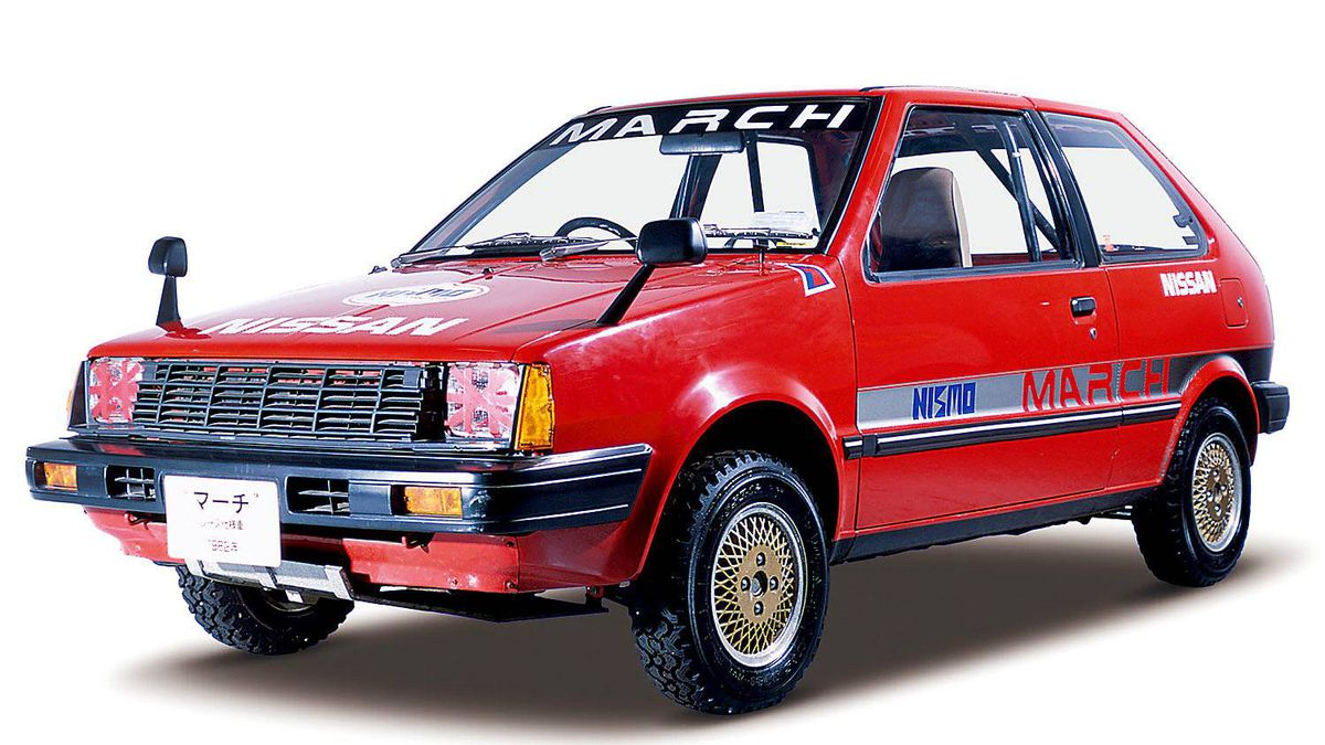 """First exhibited in 1981 at the 24th Tokyo Motor Show, this 1,000cc FF model was named """"March"""" after a public naming contest, and was officially launched in October 1982. Thanks to its lively performance, it did well in the motor sports arena, including such events as the Japan Rally Championship. Curb weight: 615 kg Engine: MA10 (4-cyl. in line, OHC), 987cc"""