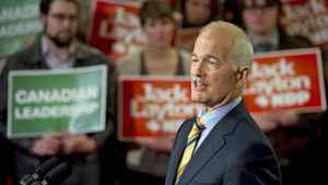 NDP Leader Jack Layton speaks to suporters at a campaign rally in Toronto on April 4, 2011.