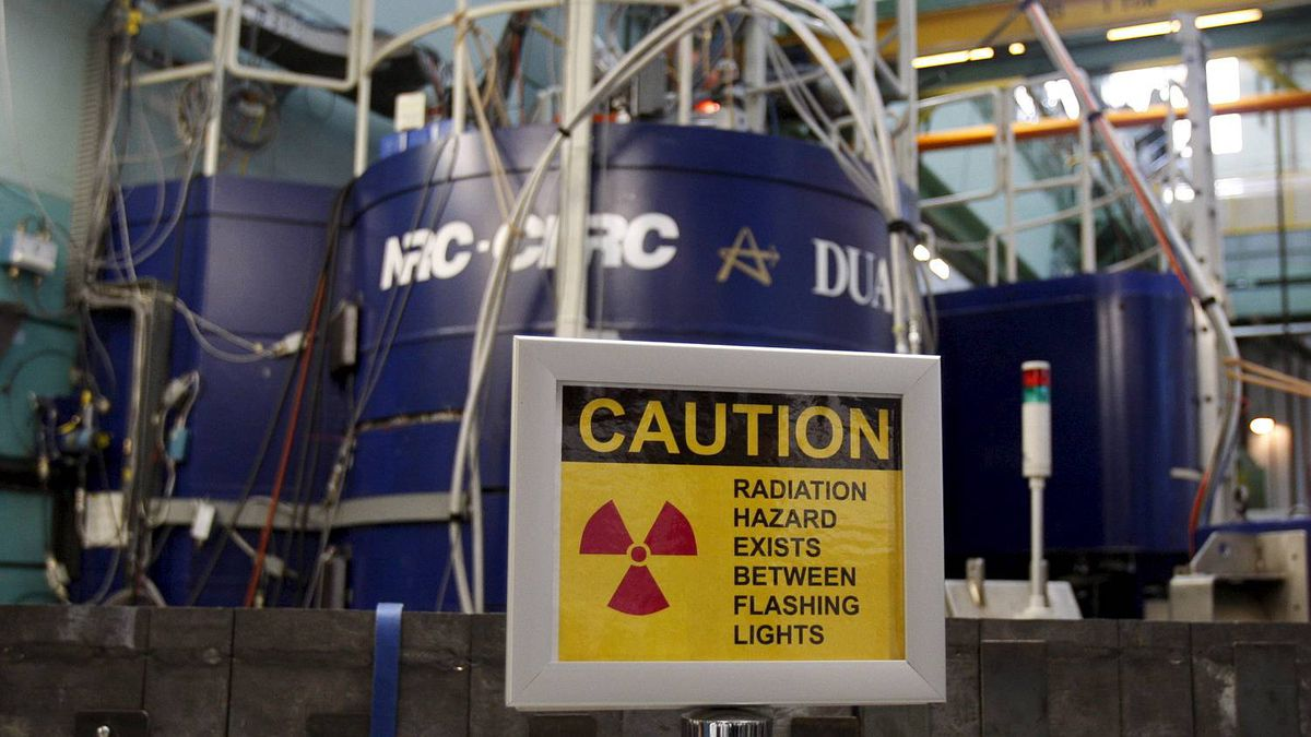 A sign is seen outside reactor at the AECL Chalk River nuclear facility in this 2007 file photo.