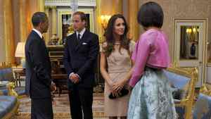 The royal newlyweds greet U.S. President Barack Obama and first lady Michelle Obama at Buckingham Palace, in London on May 24, 2011.