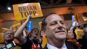 Brian Topp reacts to the results of the third ballot at the NDP leadership convention at the Metro Toronto Convention Centre in Toronto, Ont. Saturday, March 24, 2012. Thomas Mulcair would go on to win the leadership.