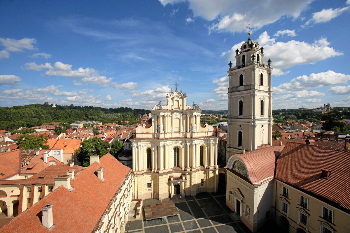 A view of St. John's Church and the campus at the University of Vilnius in Lithuania.