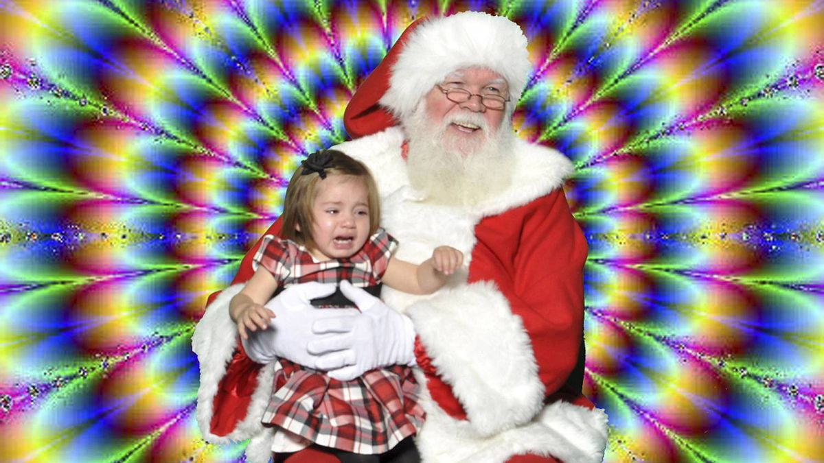 Craig Fleming photo: Sophia meets Santa - Sophia is scared by Santa's background - which is different than how I remember as a child - things sure have changed