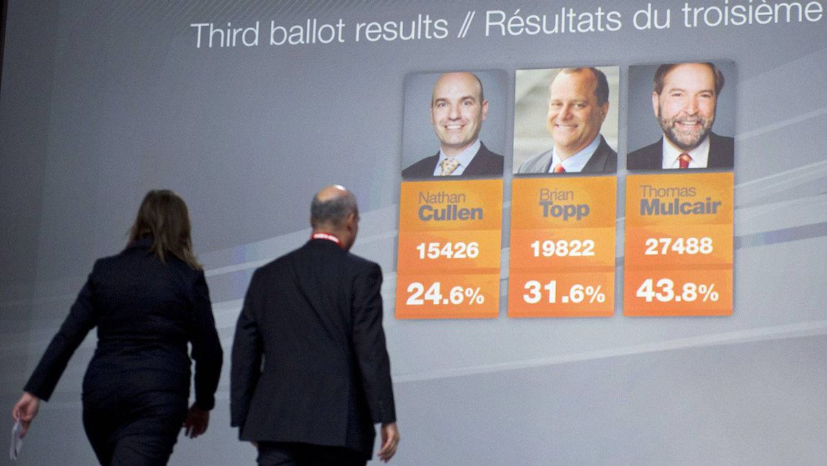 The MCs walk off stage after announcing the third-ballot results at the NDP leadership convention in Toronto on March 24, 2012.