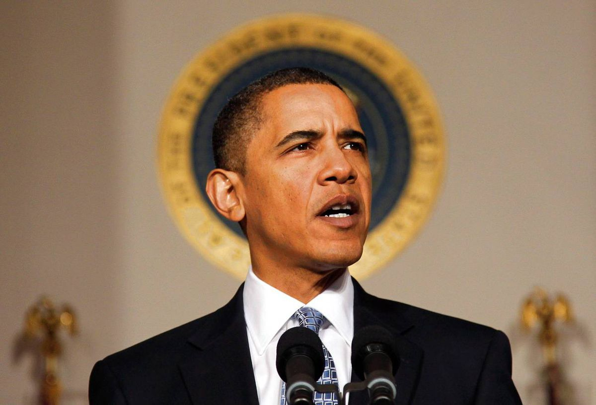 U.S. President Barack Obama speaks about the budget in the Cross Hall of the White House in Washington