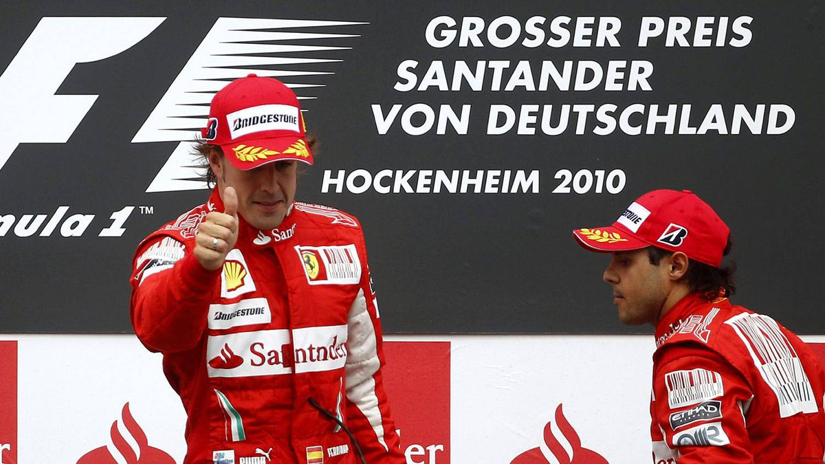 Ferrari Formula One drivers Fernando Alonso and Felipe Massa stand on the podium at the German Grand Prix in this July 25, 2010 file photo. Alonso's Formula One title hopes could suffer a knockout blow when the sport's governing body decides Ferrari's fate at a Paris hearing on September 8. The Italian team has already been fined $100,000 for manipulating the German Grand Prix in July through the use of banned 'team orders'.