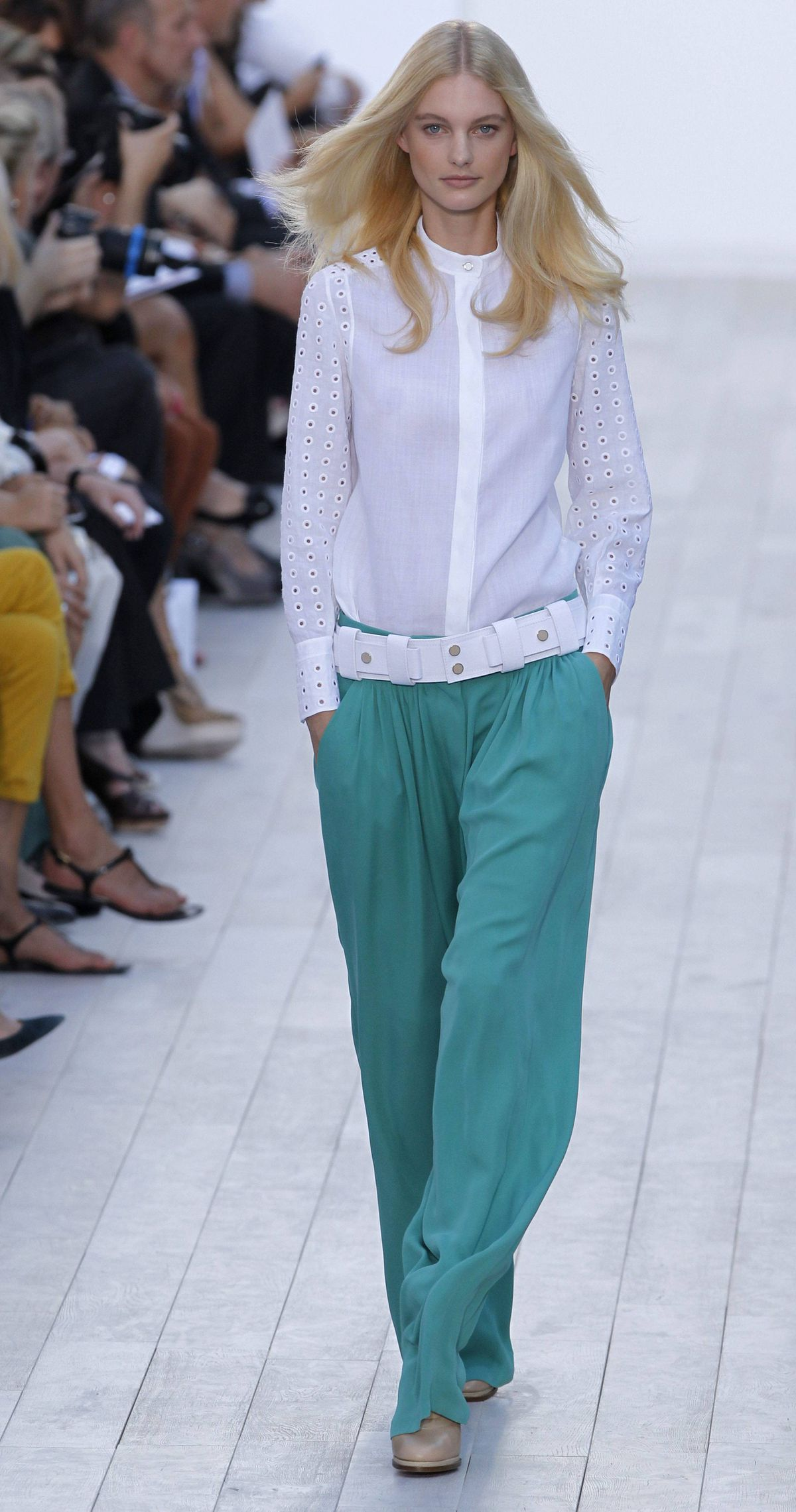 As if not already obvious, a looser pant is emerging as one of the strongest statements for spring 2012. You need only observe the relaxed slouch of these sea green slacks to get the drift.
