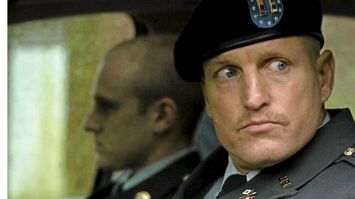 Ben Foster, left, stars as Will Montgomery, a U.S. Army officer who has just returned home from a tour in Iraq and is assigned to the Casualty Notification service. He is partnered with fellow officer Tony Stone (Woody Harrelson, right) to bear the bad news to the loved ones of fallen soldiers.