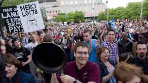Protesters opposing Quebec student tuition fee hikes demonstrate in Montreal, Saturday, May 26, 2012.