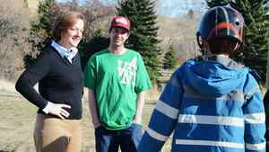 Progressive Conservative leader Alison Redford stops at the Inland Skateboard Park during her visit to Medicine Hat, Alta. on Monday, April 2, 2012.