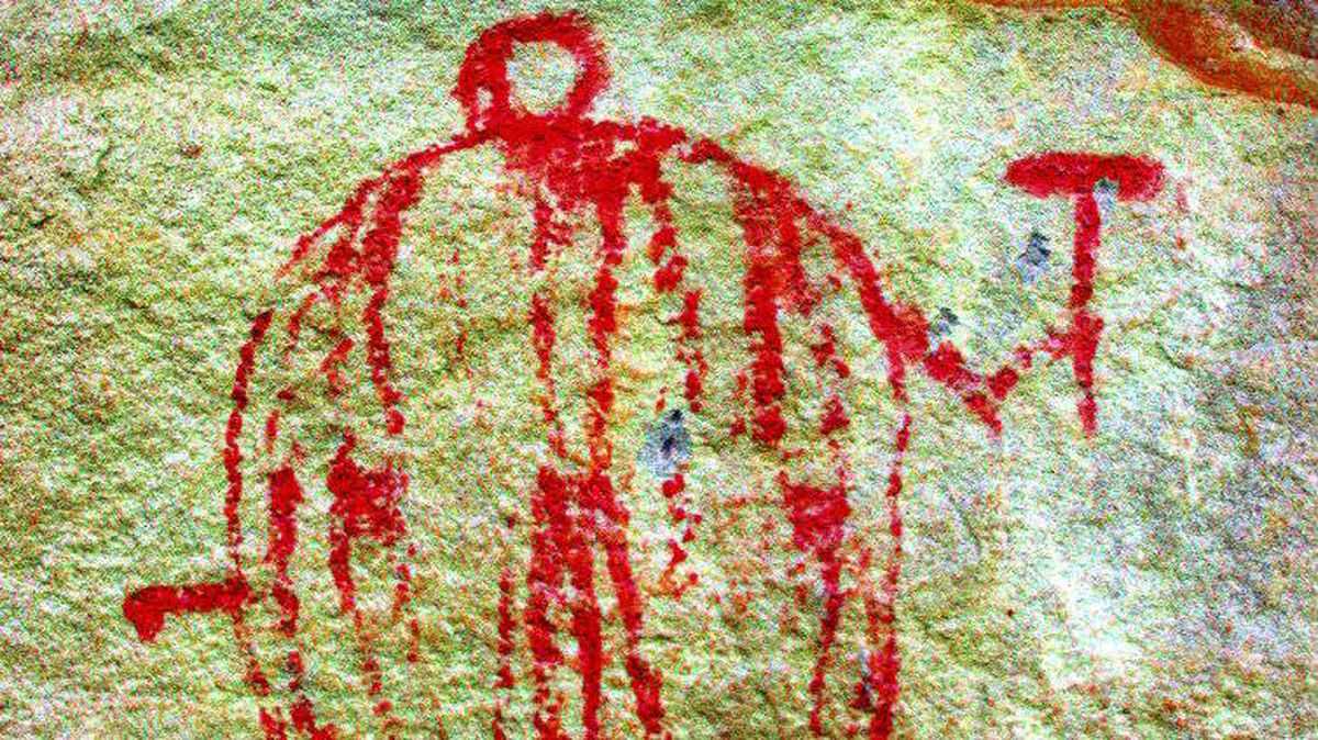 Cochrane Ranche in Cochrane, Alta.: This is a classic shield-bearing warrior image that was common among Northern Plains aboriginal groups such as the Piikani. Several hundred shield-bearing warrior pictographs are found along the Alberta foothills, especially in the area of Writing-On-Stone Provincial Park.