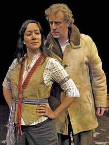 Marion Newman and Jesse Clark in Giiwedin at Theatre Passe Muraille.