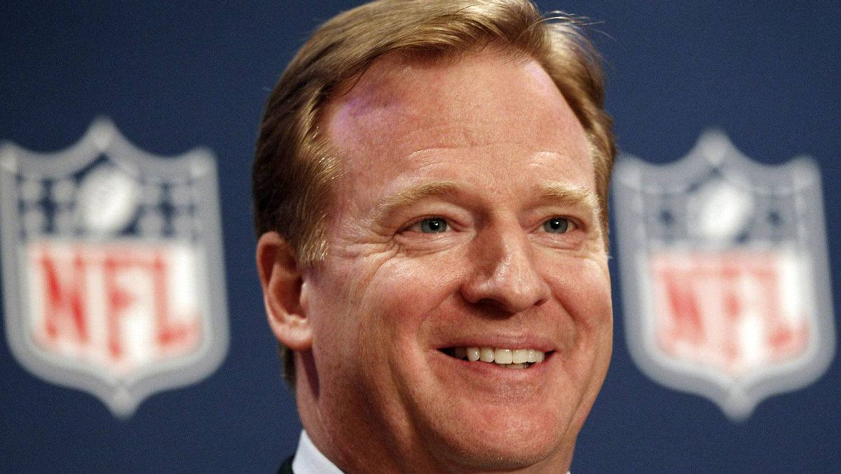 NFL commissioner Roger Goodell smiles during a new conference after the NFL owners meeting in Irving, Texas, Wednesday, Dec. 14, 2011 .(AP Photo/LM Otero)