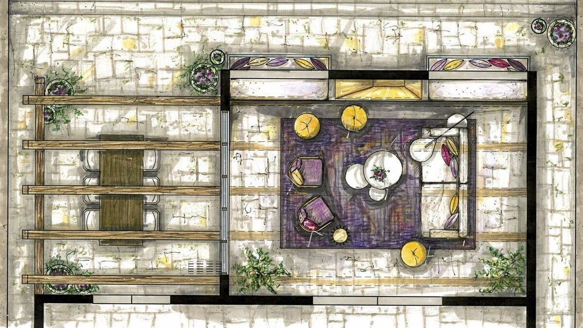 A floor plan of the living room and terrace.