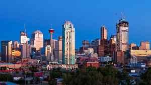 The skyline of downtown Calgary.